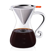 Pour Over Coffee Maker, 2 in 1 Glass Coffee Maker with Reusable Stainless Steel Coffee Filter and BPA-Free Borosilicate Glass Carafe, Multi-Use Pour Over Drip Brewer by E-PRANCE, 2-4 Cups