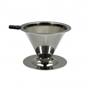 Toruiwa Coffee Filter Mesh Funnel Stainless Steel Pour Over Coffee Filter Double Layer Cone Coffee Dripper 1pcs 99MM Sliver