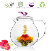 Tea Beyond Glass Teapot with infuser PINK Love 32 oz 1000ml Non drip iced tea pitcher blooming tea loose leaf teapot