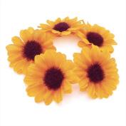 Flower Bun Garland Floral Hair Top Head Knot Scrunchie Band Elastic Bridal in Yellow