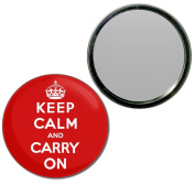 Red Keep Calm and Carry On - 77mm Round Compact Mirror