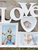 Lh & Fh Hot White Base Photo Collage Picture Holder Display Frame Art Decor Home Wall Hanging Family Love Show Photo Frame Gift , white