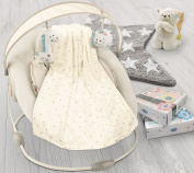 Soft plush fleece metallic dots pram/moses backet/crib baby blanket - Cream