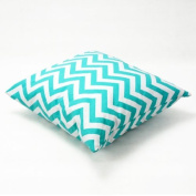 Zantec Decorative Cotton Canvas Square Toss Pillowcase Cushion Cover Handmade Zantec White and Cyan Chevron Stripe Toss Pillowcase with Hidden Zipper Closure