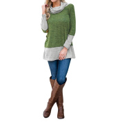 Women Long Tops Kangrun Round Cowl Neck Tunic Full Sleeve Sweatshirt Splicing Colour Tops Simple Autumn Winter Spring Blouse Casual Jumper Cosy Going Out Sweater