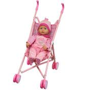41cm Soft Bodied Lovely Baby Doll Girl in Pink Buggy Stroller Girls Toy Pram