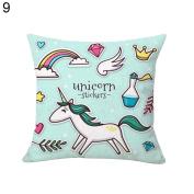 Cartoon Unicorn Print Pillow Case Bed Sofa Waist Cushion Cover Car Home Decor