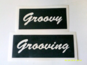 12 x Groovy / Grooving words stencils for etching on glass hobby craft glassware festivals Ibiza hippy