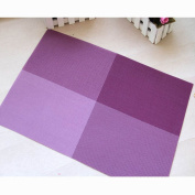 Durable Insulation PVC Coffee Coaster Mat Placemats Plaid Pad Dining Table Desk Purple