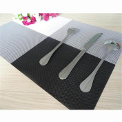 Durable Insulation PVC Coffee Coaster Mat Placemats Plaid Pad Dining Table Desk Black White