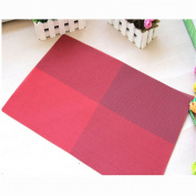 Durable Insulation PVC Coffee Coaster Mat Placemats Plaid Pad Dining Table Desk Wine Red
