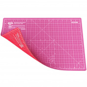 ANSIO A3 Double Sided Self Healing 5 Layers Cutting Mat Metric/Imperial 45cmx 30cm - Pink/Red