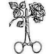 Rose & Scissors Rubber Stamp Approx 30 x 30 mm