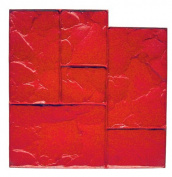 BonWay 12-875 60cm x 60cm Ashlar Cut Stone Urethane Floppy Mat for Decorative Concrete - Red
