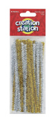 Creation Station 150 mm New Tinsel Pipe Cleaners, Gold and Silver