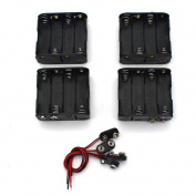 Raogoodcx 4Set 8 x AA Thicken Battery Holder and T Type Wired Battery Clip Standard Snap Connector