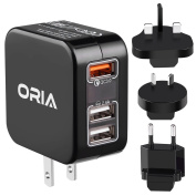 ORIA Travel Adapter, 3 USB Plug Charger with Quick Charge 3.0, 30W Fast Charger, 2.4A Current Recognition, with Detachable US/UK/EU/AU Plug for iPhone, Smartphone, iPad Pro, Camera and Other Devices