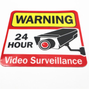 24 hour Video Surveillance Sign/Decal Self Adhesive 20cm by 20cm Vinyl Decal — Indoor & Outdoor Use ,UV Protected & Waterproof,Sleek, Rounded Corners