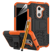 Alcatel A3 Case (Model 5046D) - Dual Layer Hybrid Heavy Duty Armour Strong Tough Shockproof Builder Hard Anti Slip Light Weight Back Case Cover with Stand Protective Case for Alcatel A3 5046D with Screen Protector & Touch Stylus pen