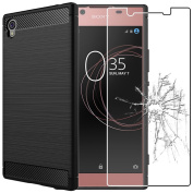 ebestStar – For Sony Xperia L1, L1 Dual [precises 151 x 74 x 8.7 mm, 5.5-Inch) – Carbon Fibre Soft Silicone Gel Case + Tempered Glass Screen Protector, Black