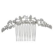 Bridal Wedding Silver Crystal Rhinestones Pearls Women Hair Comb