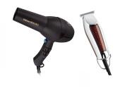 Diva Veloce 3800 Rubberised Black Hair Dryer and Wahl Detailer T-Wide Trimmer