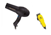 Diva Veloce 3800 Rubberised Black Hair Dryer and Wahl Pro Clip Clipper