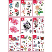 Tattoo Sticker, Kapmore 10Pcs Waterproof Colourful Flower Body Sticker Temporary Tattoo for Women