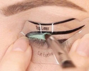 Panlom® Eyeliner Stencil - Eyeshadow Guide Brushes and Cat Shaping Eye Liner Stencil Smokey Cat Quick Eye Makeup Tool Set