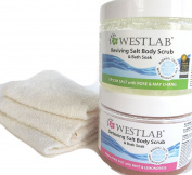 Westlab Reviving Salt Body Scrub and Bath Soak Epsom Salt with Rose and May Chang (500 ml), Westlab Detoxing Salt Body Scrub Himalayan Salt with Mint & Lemongrass (500 ml) Plus Three Beauty Cloths