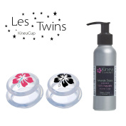 KineaTwins - 2* Anticellulite Cup, large suction cup, with Sweet Almond Oil Made in France. New generation of XL suction cups, easy handling and ultra-draining effect. Ideal for firming and smoothing the legs, hips, buttocks and belly.