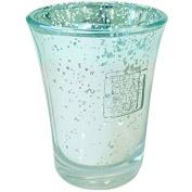 Heart & Home Glass Votive Holder Silver/Blue, 200 g