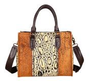 XinMaoYuan Retro Pancreas Handbag Women's Leather Duffle Bag Animals Pattern Cross Razor Bag