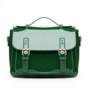 Great Strange Female bag Fashion Patent glossy Single Shoulder bag Retro Handbag Oblique Cross lady Bag Shopping Work Three Colours , green