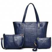 Great Strange Female bag three piece set Handbag + Single Shoulder bag + small hand bag A woman must have a product , blue
