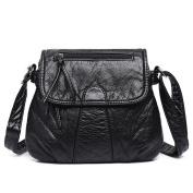 Great Strange Woman single Shoulder Bag Fashion PU Leather Diagonal Cross Package Handbag Shopping Work Black