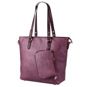 YouPue Vintage Women Handbag PU Tote Bag Practical Large Shoulder Bags + Small Purse Bag 2pcs