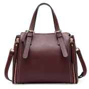 SAIERLONG Ladies Designer Womens Red wine Genuine Leather Handbags Tote Shoulder Bags