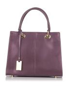 Laura Moretti - Leather handbag bag with hanging metallic tag charm