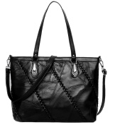 NUCLERL Ladies Large Faux Leather Quality Handbag Ladies Fashion Tote Bag with Braid Black Shoulder Bag Cross Body Bag