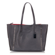 Laura Moretti - Glitter leather studded TOTE bag with hanging metallic tag charm