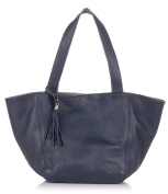 Laura Moretti - Leather reversible TOTE bag with tassel charm