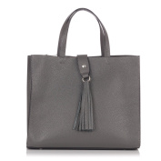 Laura Moretti - Leather shoulder TOTE bag with belt closure and tassel charm