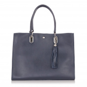 Laura Moretti - Leather TOTE bag with tassel charm