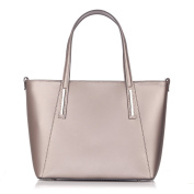 Laura Moretti - Leather TOTE bag with front contrats stitching