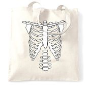 Skeleton Chest Costume Halloween Party Cool Design Bones Creepy Scary Spooky Trick Or Treat Sweets Candy Shopping Tote Bag Cool Birthday Gift Present
