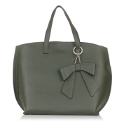Laura Moretti - Leather structured TOTE bag with detachable bow decoration