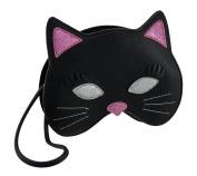Black & Pink Glitter Kitty Cat Mask Wristlet Purse
