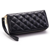 DcSpring Women's Long Wallet Leather Clutch Bag Purse Double Zipper Large Capacity with Wrist Strap Double Zipper