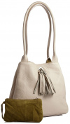 Big Handbag Shop Womens Real Leather with Reversible Suede Leather Medium Slouch Shoulder Bag with Tassel